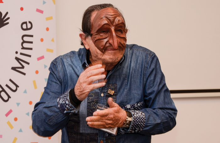Yoram Boker, professor of theatre at Tel Aviv University and a Special WMO Award laureate, demonstrates commedia dell'arte at the inaugural World Mime Conference in March