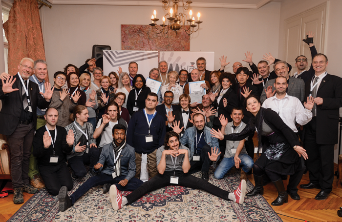 Attendees of the World Mime Conference (above), which took place in Belgrade in March this year, with vice-president Ofer Blum (far left) and president Marko Stojanovic (far right)