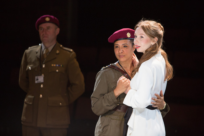 Othello with Golda Rosheuvel and Emily Hughes. Photo: Jonathan Keenan