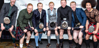 Tyler Collins, Phil McKee, Richard Colvin, Matthew Malthouse, John McLarnon, Euan Bennet and Joel Burman at the press night of Sunshine on Leith. Photo: Anthony Robling