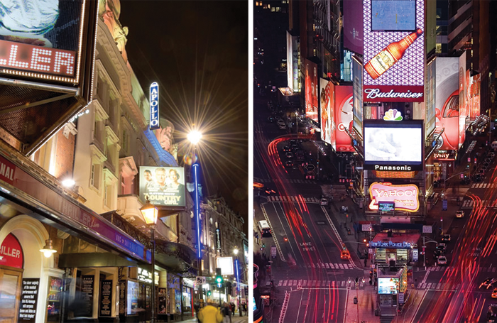 The West End and Broadway. Had our Green Room noticed the pay difference? Photos: Alex Brenner/Emile Wamsteker
