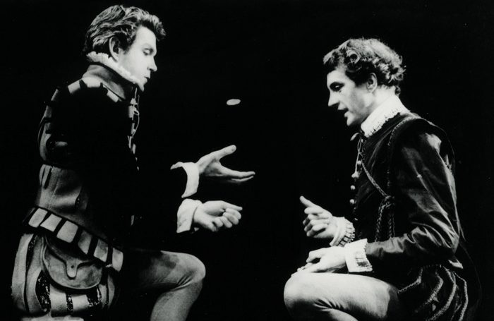 John Stride and Edward Petherbridge in Rosencrantz and Guildenstern are Dead. Photo: Anthony Crickmay