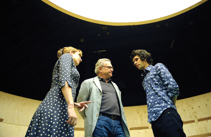 Katherine Parkinson, Paul Jesson and Ben Whishaw in Cock at the Royal Court (2009). Photo: Tristram Kenton