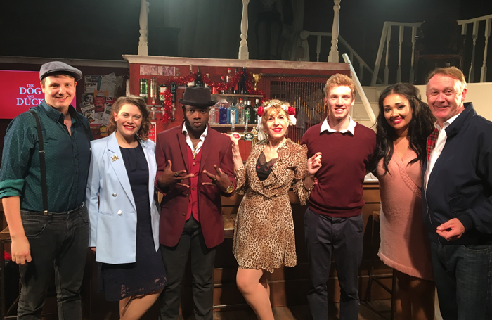 Musical director Oli George Rew wth cast members Emily Jane Kerr, Prince Plockey, Andrea Miller, Christian James, Tori Allen-Martin and Christopher Lyne. Photo: Chloe Nelkin Consulting