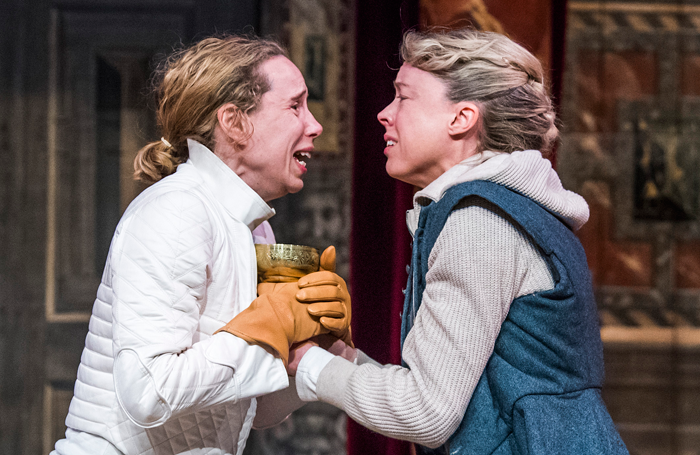 Michelle Terry and Catrin Aaron in Hamlet. Photo: Tristram Kenton