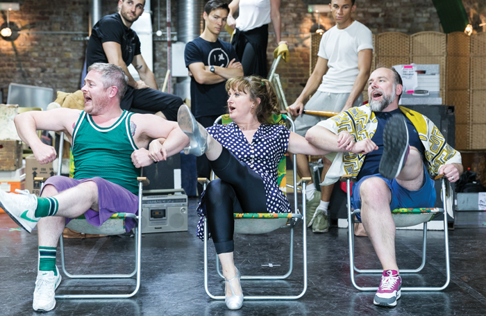 Ben Redfern, Caroline O'Connor and Ross Dawes in rehearsals for The Rink. Photo: Darren Bell