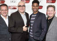 Director Michael Grandage, cast members Alfred Molina and Alfred Enoch with writer John Logan at the Red press night, London. Photo: Dan Wooller