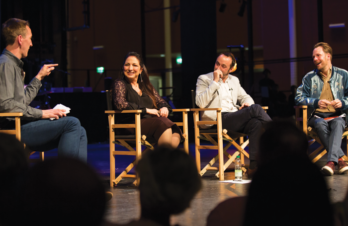 The Stage's news editor Matt Hemley and Gloria Estefan with Curve's Chris Stafford and Nikolai Foster at the season preview event. Photo: Ellie Kurttz