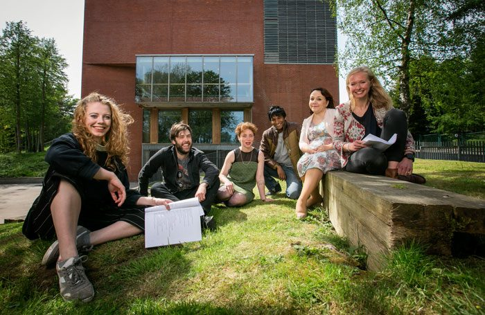 The six writers on Belfast Lyric's New Playwrights Programme outside the theatre. Left to right: Meghan Tyler, Lee Coffey, Alice Malseed, Breman Rajkumar, Shirley-Anne Bonner and Martha Barnett