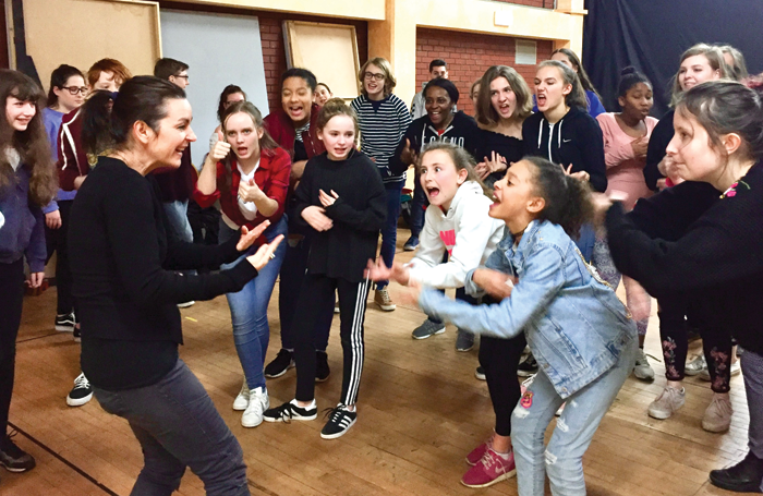 Lizi Patch teaching members of the City Varieties Youth Theatre at the Leeds Grand Theatre