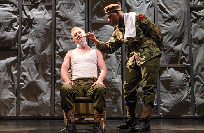 John Boyega and Steffan Rhodri in Woyzeck at the Old Vic in 2017. Photo: Manuel Harlan