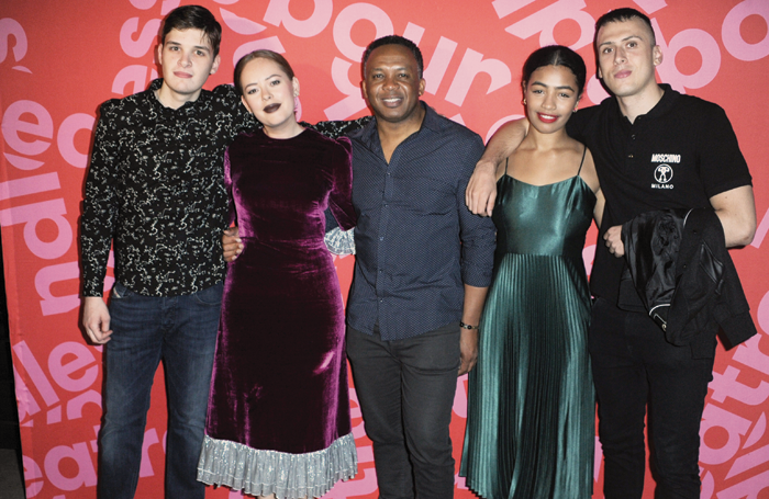 Will Pattle, Tanya Burr, Lace Akpojaro, Anna Crichlow and Rhys Yates at the press night of Confidence. Photo: Terry Scott
