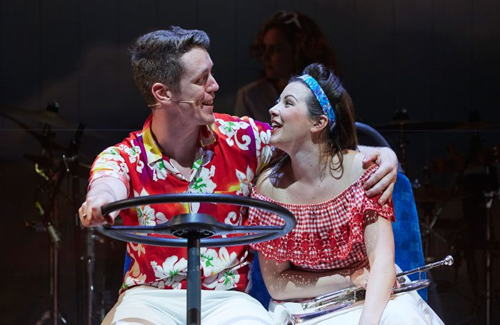 David Heywood and Isobel Bates in Summer Holiday at Octagon Theatre, Bolton. Photo: Richard Lakos