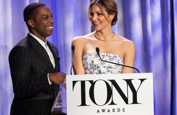 Leslie Odom Jr and Katharine McPhee during the 2018 Tony nominations.Photo: Shutterstock