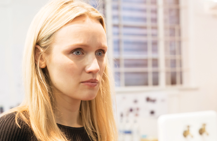 Emily Berrington in Machinal rehearsals. Photo: Johan Persson