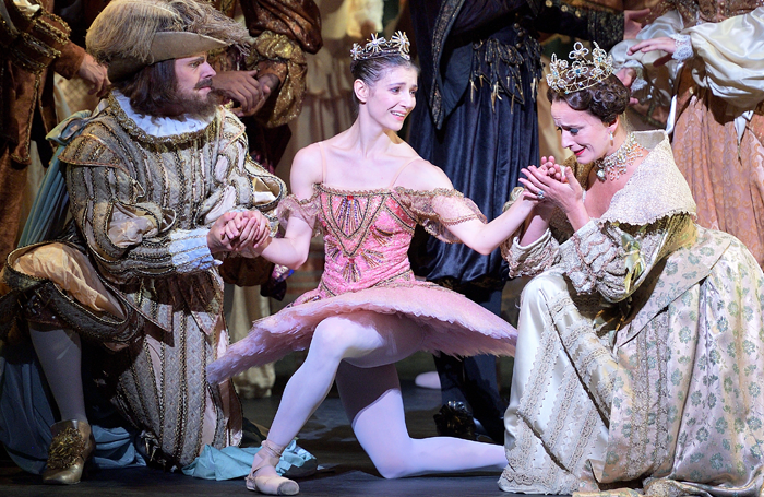 Grant Rae, Alina Cojocaru and Jane Haworth in English National Ballet's The Sleeping Beauty. Photo: Laurent Liotardo
