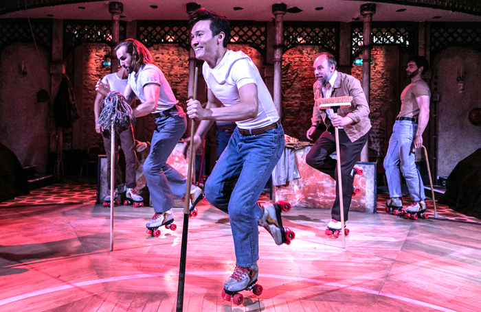 Jason Winter, Michael Lin and Ross Dawes in The Rink at Southwark Playhouse. Photo: Darren Bell