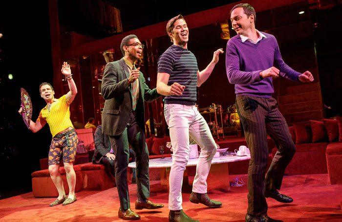 Robin De Jesus, Michael Benjamin Washington, Andrew Rannells and Jim Parsons in The Boys in the Band at Booth Theatre, New York. Photo: Joan Marcus