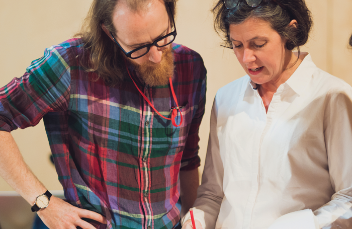 Author Sam Kenyon and director Erica Whyman in rehearsals for Miss Littlewood. Photo: Topher McGrillis