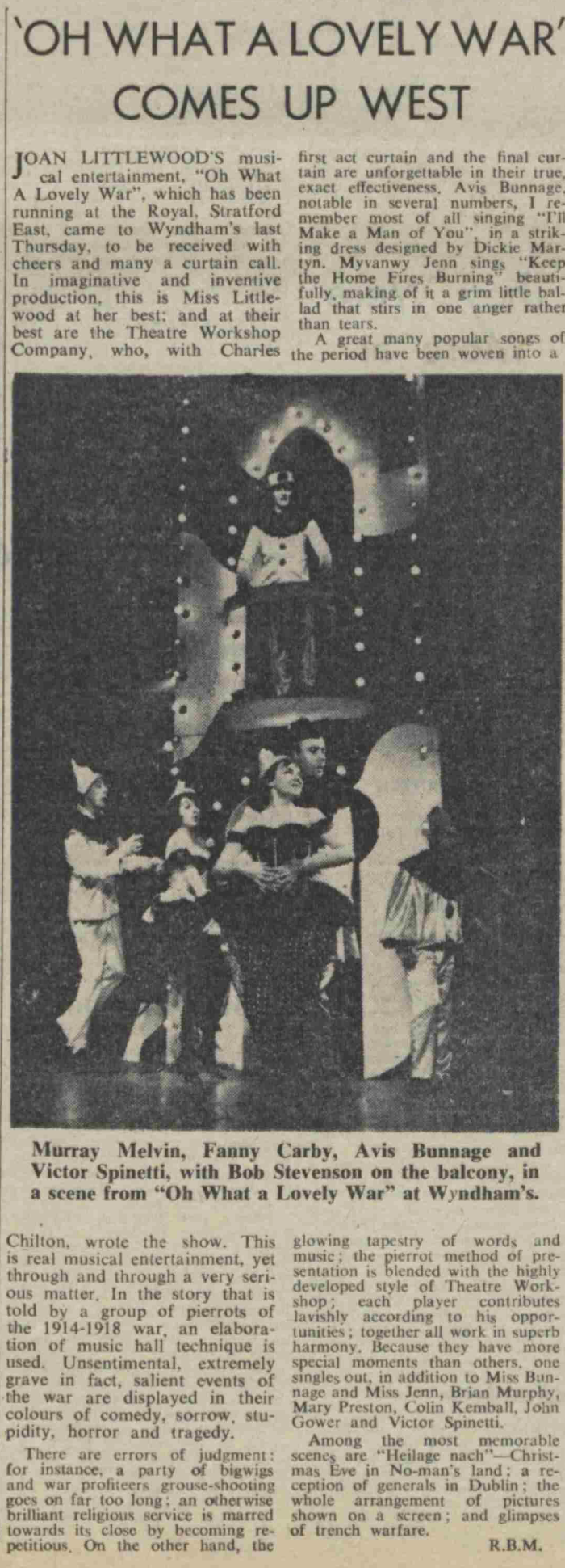 The Stage's review of Oh What a Lovely War in 1963 (click to enlarge)
