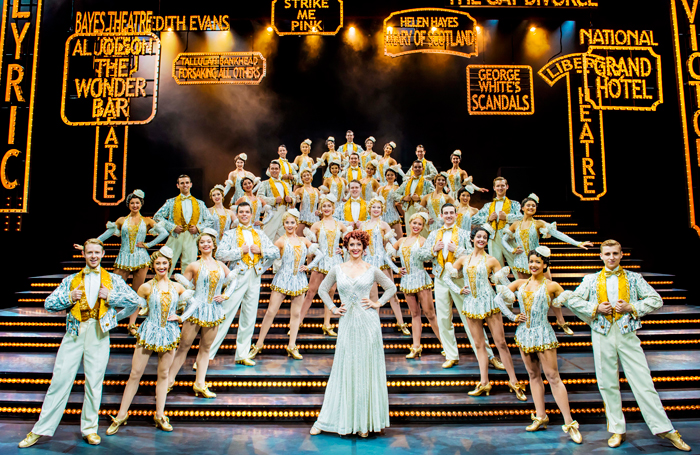 Steph Parry as Dorothy Brock with the 42nd Street ensemble. Photo: Matt Crockett