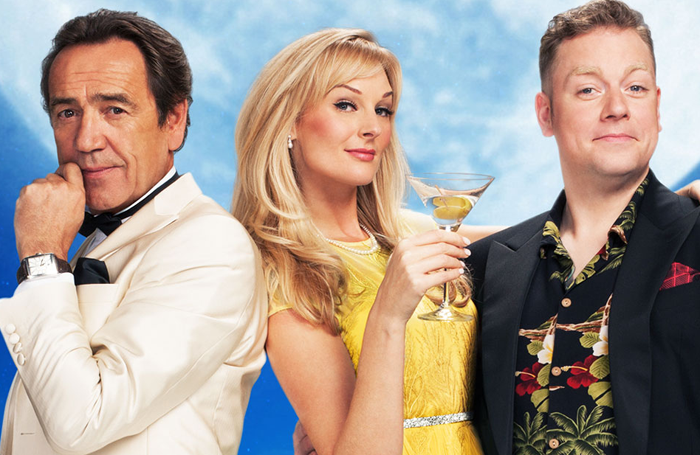Kingsley (centre) with Robert LIndsay (left) and Rufus Hound (right) in Dirty Rotten Scoundrels