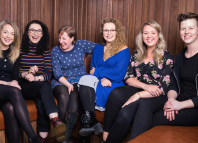 Heathers will star Carrie Hope Fletcher (third from right), pictured here with the house band which will perform during the show's run. Photo: Richard Southgate
