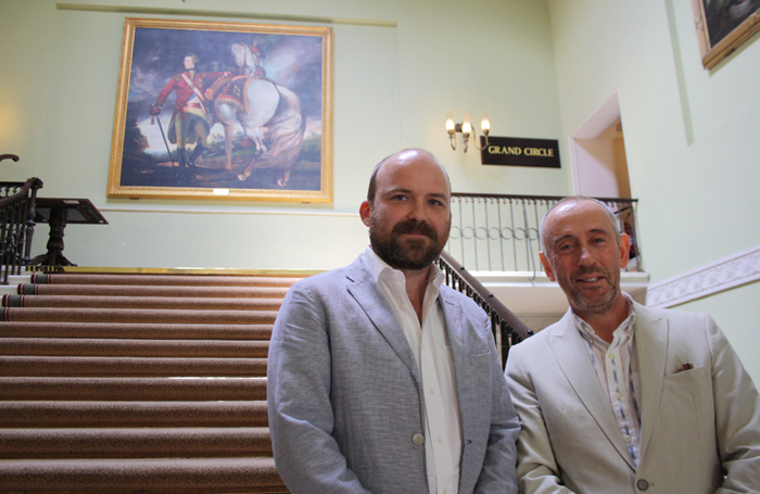 Nicholas Hytner, right, with Rory Kinnear, who presented him with the 2018 Theatre Book Prize