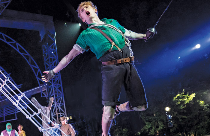 Sam Angell as Peter Pan. Regents Park Open Air Theatre, 2018. Credit: Johan Persson