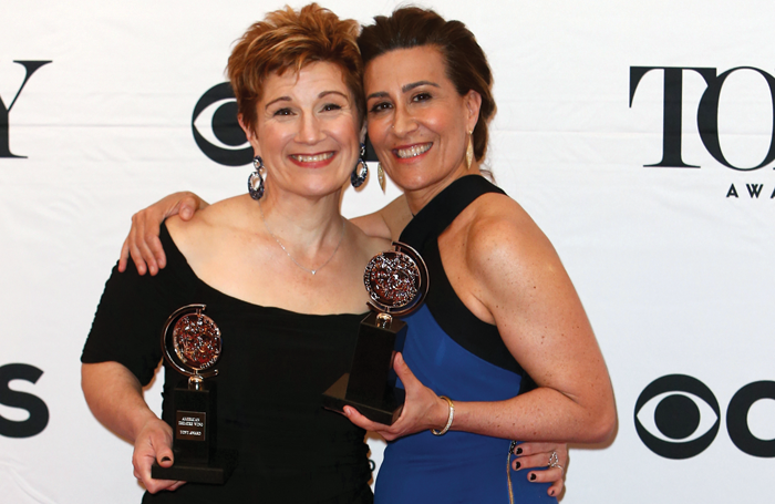 Jeanine Tesori (right) with Lisa Kron at the Tony Awards in 2015. Photo: Shutterstock