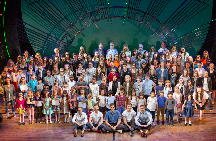 Judges and winners of the Wicked Young Writer awards at the Apollo Theatre, London. Photo: Ellie Kurttz