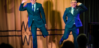 Eric and Ern perform their act, a tribute to Morecambe and Wise, in the Limelight Club on board P&O Cruises' Britannia. Photo: Christopher Ison