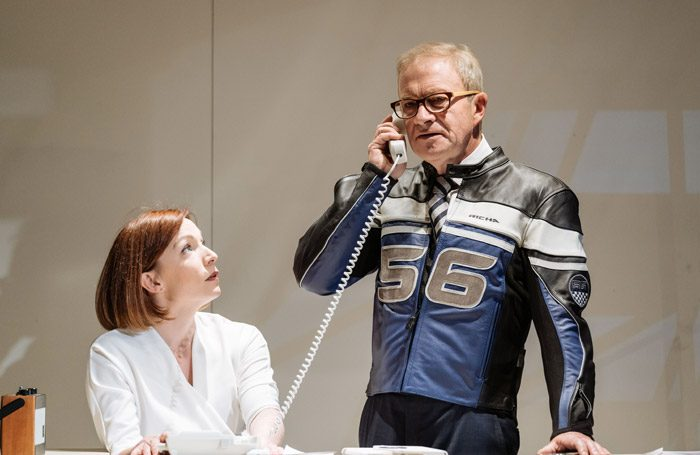 Kirsty Besterman and Harry Enfield in Genesis Inc at Hampstead Theatre, London. Photo: Manuel Harlan