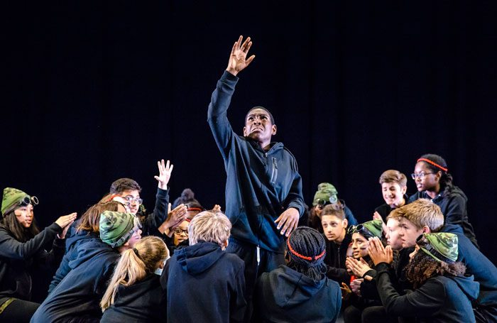 Haggerston School perform Chinonyerem Odimba's The Sweetness of a Sting as part of the National Theatre's Connections festival. Photo: Richard Davenport/