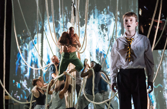 Matthew Tennyson and cast of A Monster Calls in previews at Bristol Old Vic. Photo: Manuel Harlan