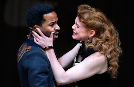 Andre Holland and Jessica Warbeck in Othello at Shakespeare's Globe. Photo: Simon Annand