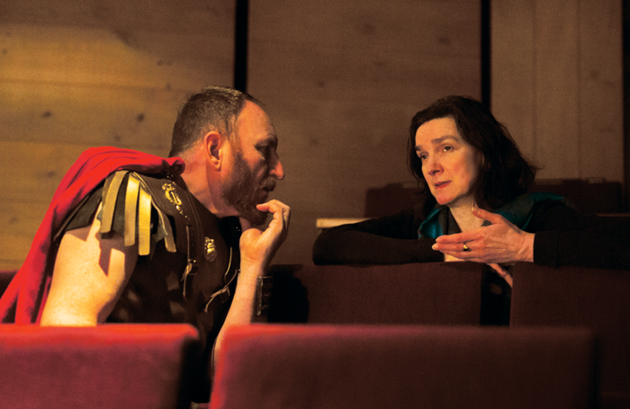 Kate Godfrey working with Antony Byrne on the RSC's production of Antony and Cleopatra last year. Photo: Andrew Fox