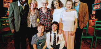 Clockwise from left: Joseph Rowe (cast), adapter/director Vicky Ireland, writer Jacqueline Wilson and cast members Davina Moon, Erika Poole, Phil Yarrow, Lydia Orange and Ruby Ablett at the press night of Double Act at Polka Theatre. Photo: Kate Morley PR