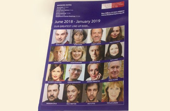 Theatre Royal Bath's 2018-19 brochure has been criticised for not featuring a single non-white face