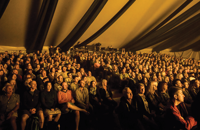 Audience at one of the theatre tents at Latitude. Photo: Victor Frankowski