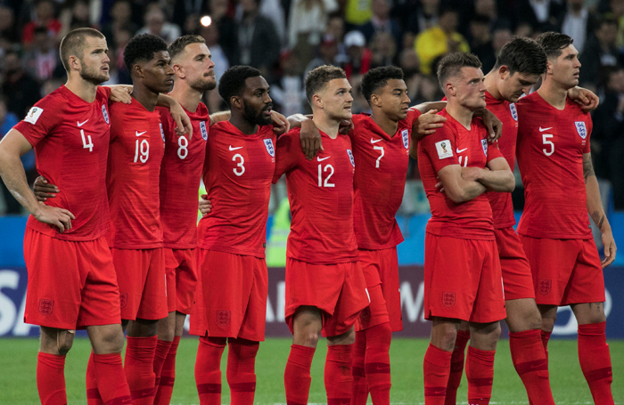 England football team before playing Columbia. Photo: Shutterstock