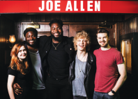 2018 winners from left: Katherine Soper, Lekan Lawal, Abraham Popoola, Andrew Polec and Samuel Thomas at Joe Allen Restaurant. Photo: Alex Brenner
