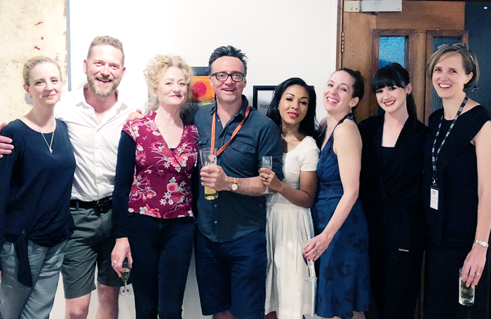Writer Laura Wade, cast members Barnaby Kay, Sian Thomas, Richard Harrington, Kathryn Drysdale, Katherine Parkinson and Sara Gregory with director Tamara Harvey. Photo: Kate Morley PR