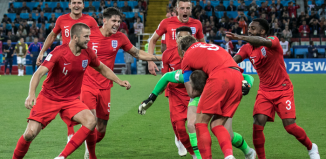 England team after winning the penalty shoot-out in the match against Columbia. Photo: Shutterstock