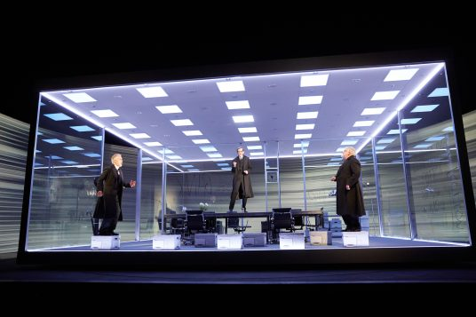 Ben Miles, Adam Godley and Simon Russell Beale in The Lehman Trilogy at the National Theatre