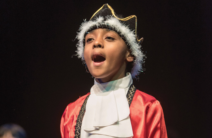 A child performing in the 2017 Shakespeare Schools Festival