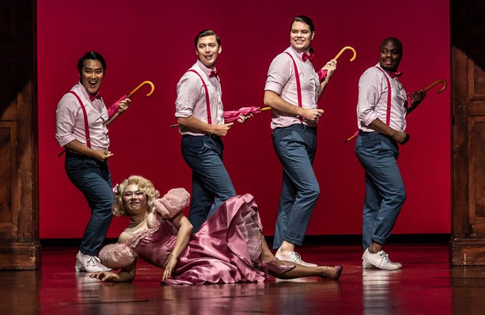 Haegee Lee, Konu Kim, Dominic Sedgwick, Harlekin Thomas Atkins and Simon Shibambu in Jette Parker Young Artists Summer Performance the Royal Opera House, London. Photo: Clive Barda
