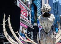 The augmented reality art installation Wake, by Mel Chin, in Times Square, New York. Photo: Howard Sherman