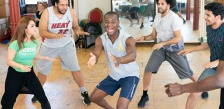 Julie Yammanee, Marc Akinfolarin, Eddie Elliot, Jason Denton and Liam Tamne in rehearsals for Spamilton. Photo: Johan Persson