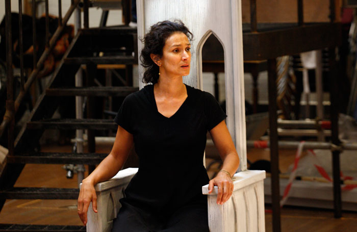 Indira Varma in rehearsals for Exit the King. Photo: Simon Annand